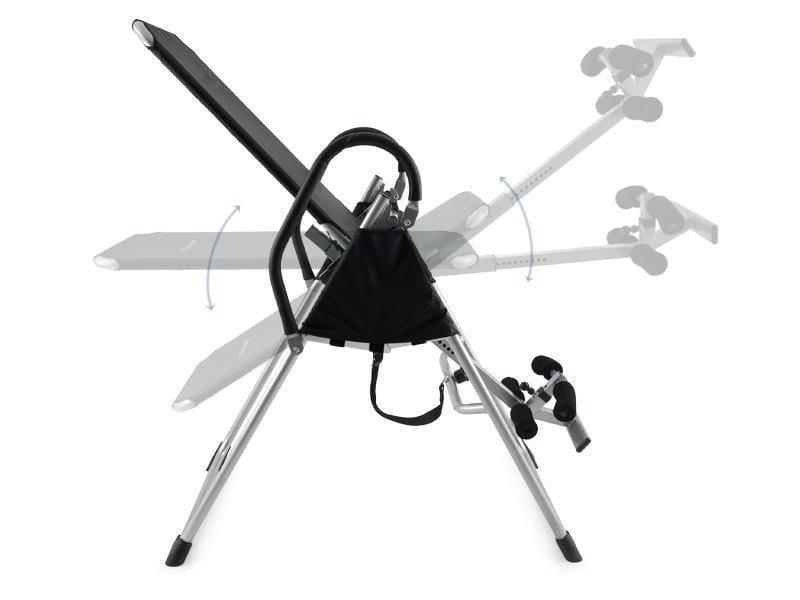 Bildet vises hvordan strekkbenken har trinnløs justering for bekvem bruk.